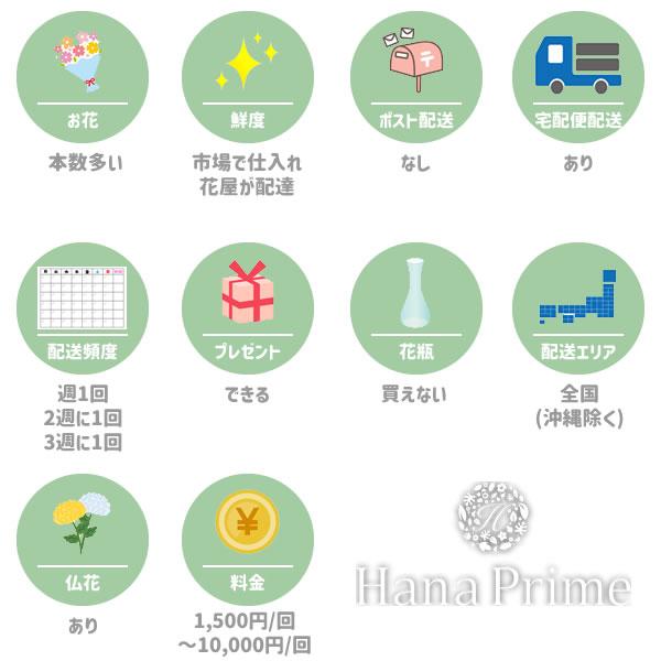 ハナプライム(HanaPrime)の特徴一覧図