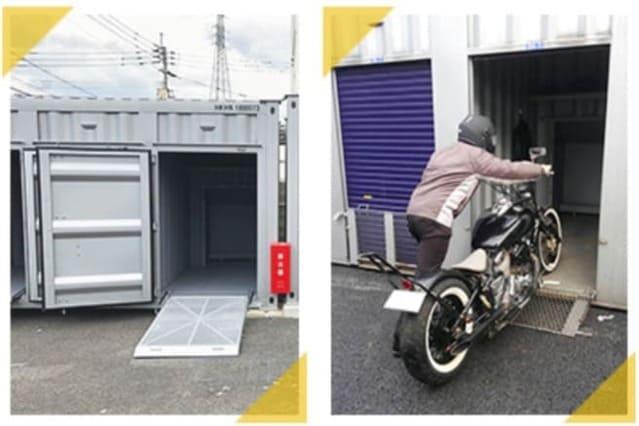 ドッとあーるコンテナのバイクガレージ画像