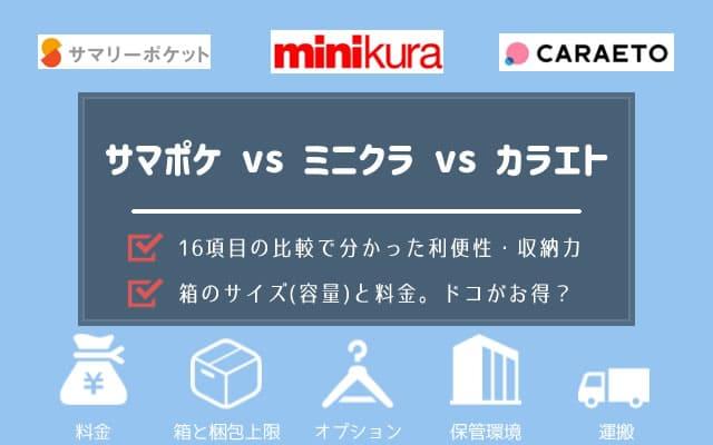 サマリーポケットとminikuraとcaraetoの料金・送料・対応エリアなど16項目を比較