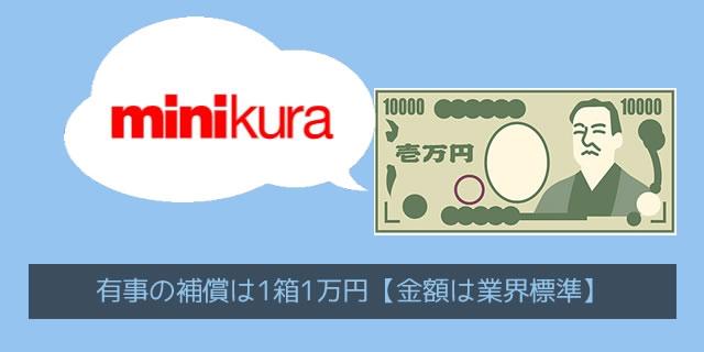 ミニクラ(minikura)の補償金額1箱1万円は業界標準レベル