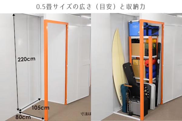 0.5畳サイズのトランクルームの広さと収納力